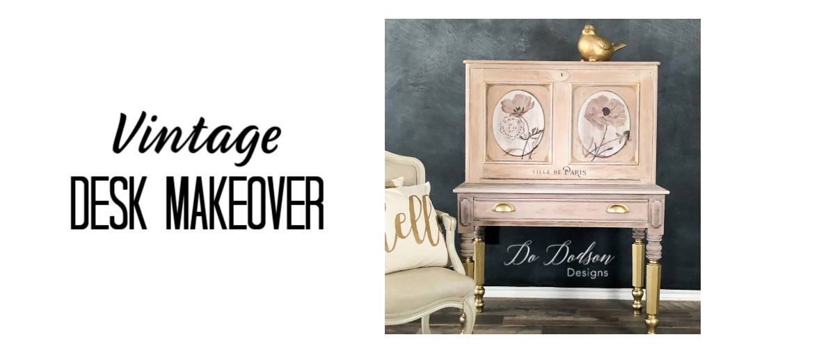 Transform your vintage desk into a work of art by using chalk mineral paint, decor transfers, and GOLD leaf spray paint to add amazing details!