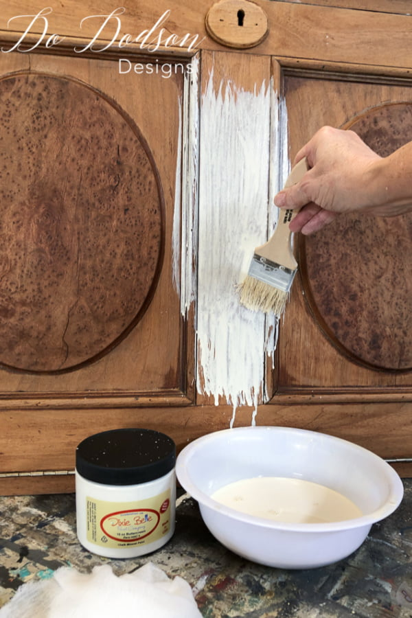 Whitewash on a vintage desk is a great way to preserve the beauty of natural wood without covering it up with paint.