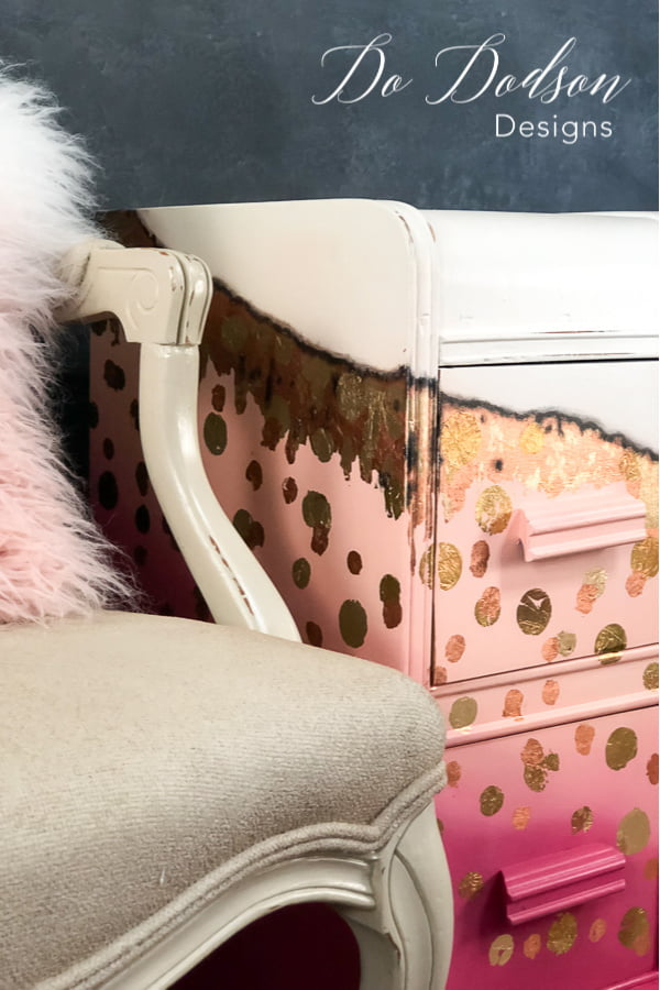 Pink & Polka Dot Gold Leaf Nightstand