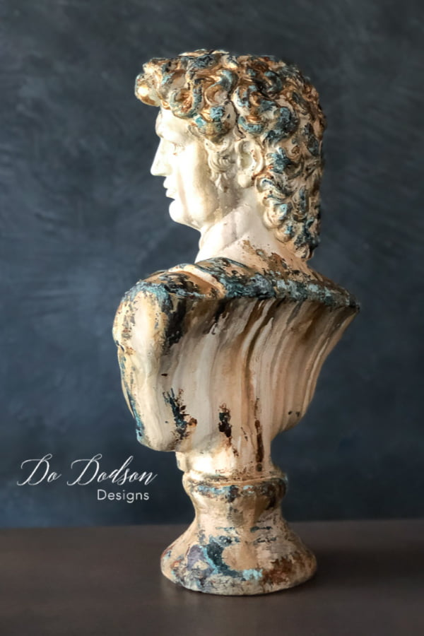 Michelangelo's David bust with an aged patina finish makeover. Want this look? I can show you how.