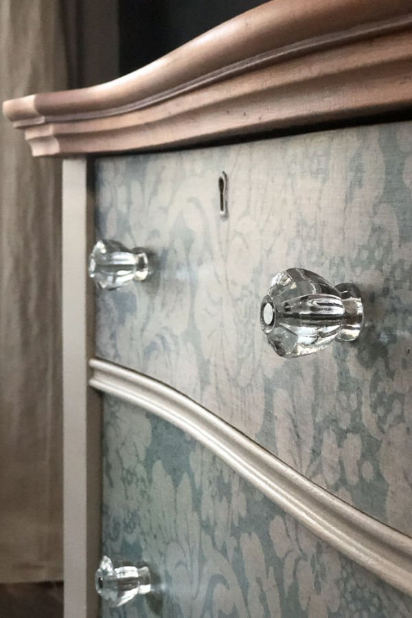 Hardware can really make your furniture makeovers stand out. The depression glass knobs are lovely with this makeover.