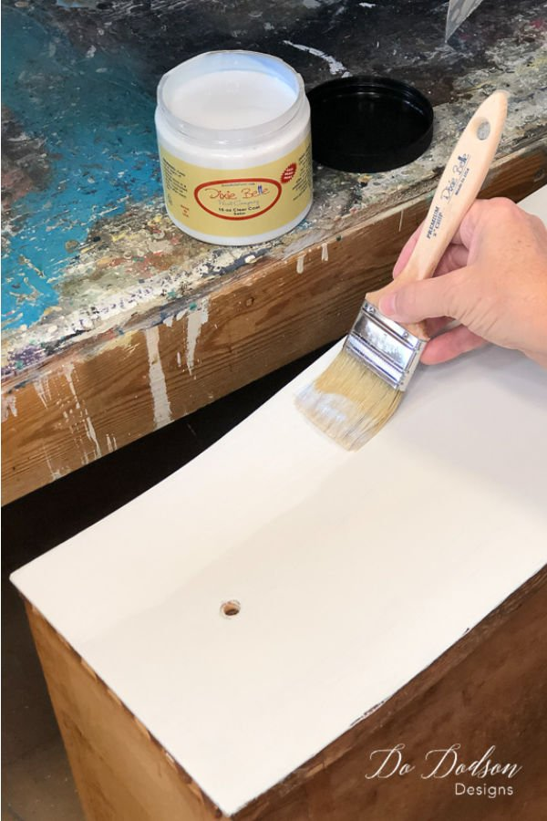 Used an acrylic based top coat as my glue for my decoupage furniture project.