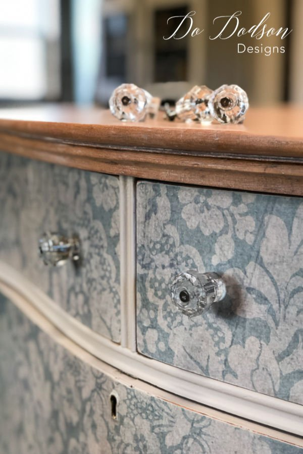 Depression glass knobs were the perfect compliment to this vintage dresser makeover.