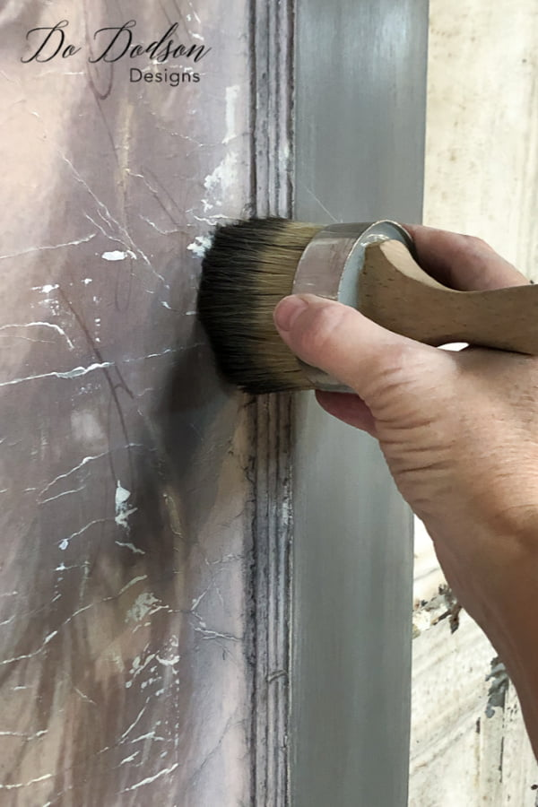 Adding dark waxes tied my design all together on this vintage door.