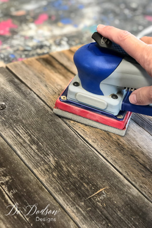 I sanded the pallet wood sign to remove any rough areas with my SurfPrep Sander. I LOVE this tool!