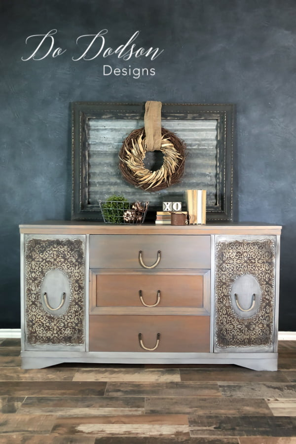 I LOVE how the raised stencils on the sideboard added texture and style. It was so basic before the makeover.