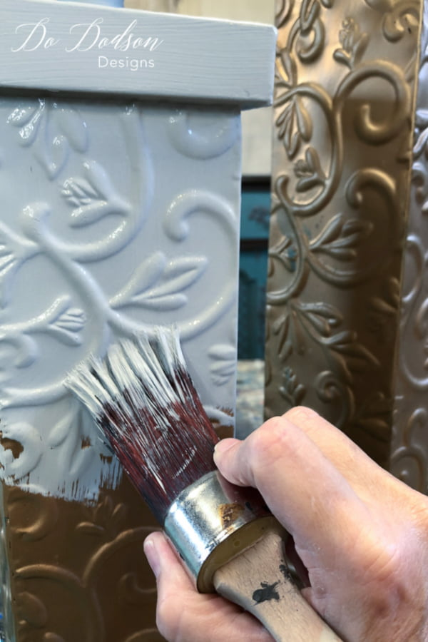 Paint one coat of your favorite chalky type paint.