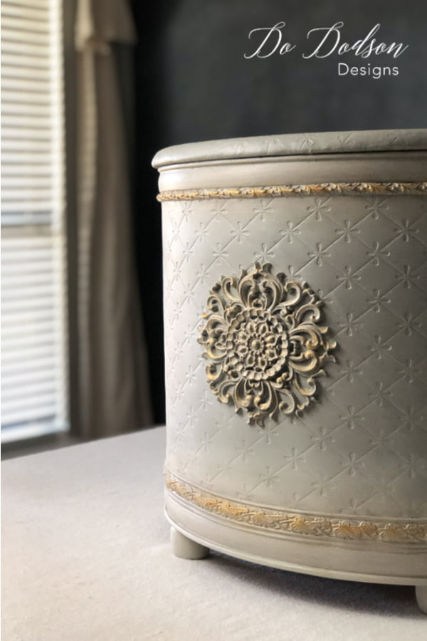 I love how adding something as simple as a wood applique turned this vintage laundry hamper into a beautiful piece of home decor.