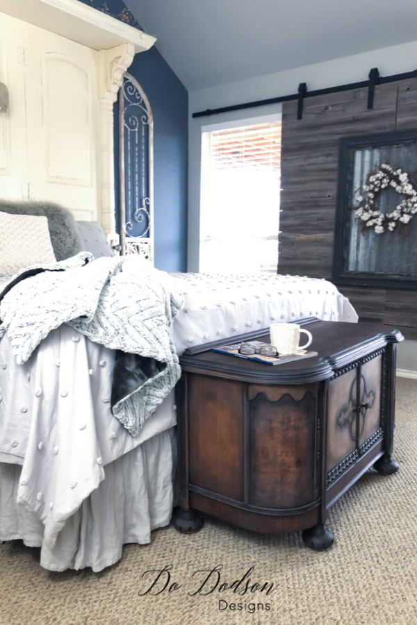 My bedroom is complete! Adding this vinatge cabinet to the end of of my bed is just want it needed.