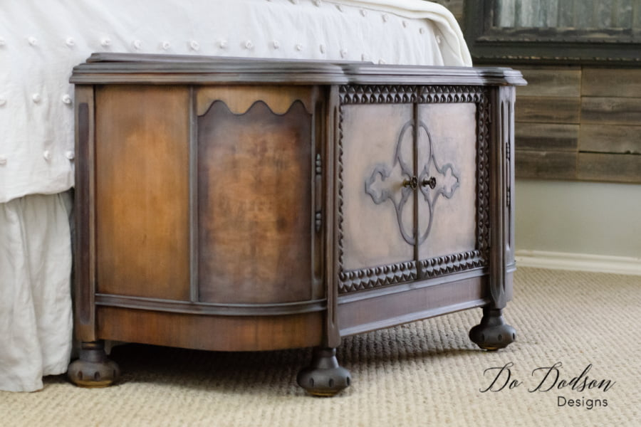 Adding black wax to vintage furniture can bring it back to life. Amazing transformation!