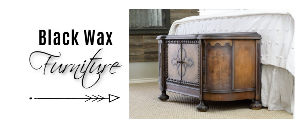 Here's a quick way to update wood furniture with black wax.