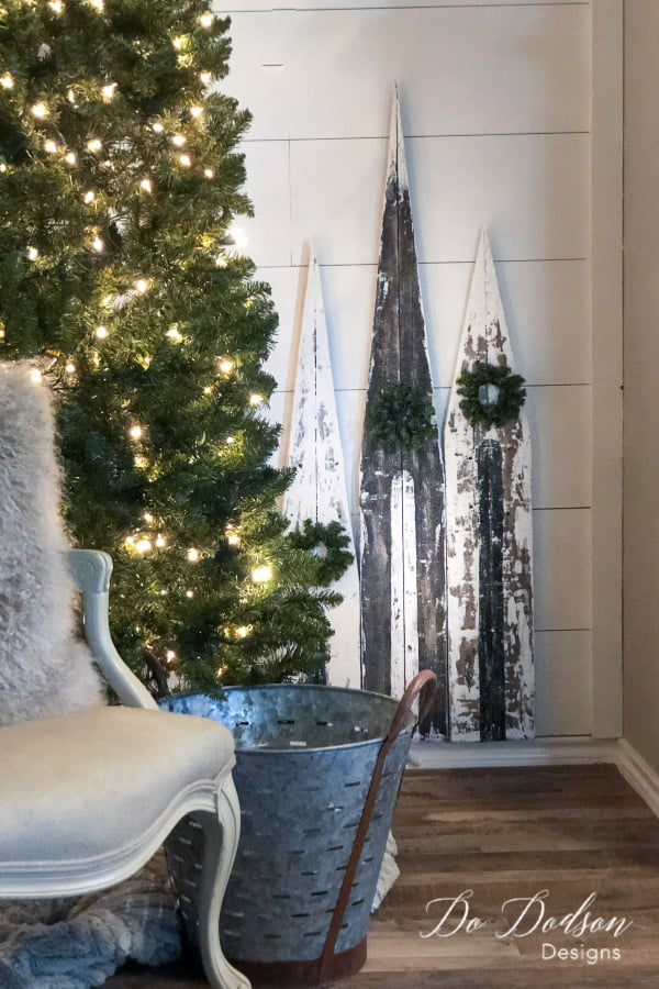 Mini wooden churches add a special feel to my rustic Christmas decor. A simple budget friendly DIY Christmas project.