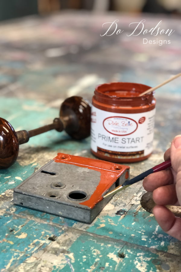 Apply one coat of Prime Start over any clean metal hardware before adding the patina paint and allow it to dry. I couldn't leave out the vintage hardware! It needed an aged look too. Be sure that you don't skip this step.