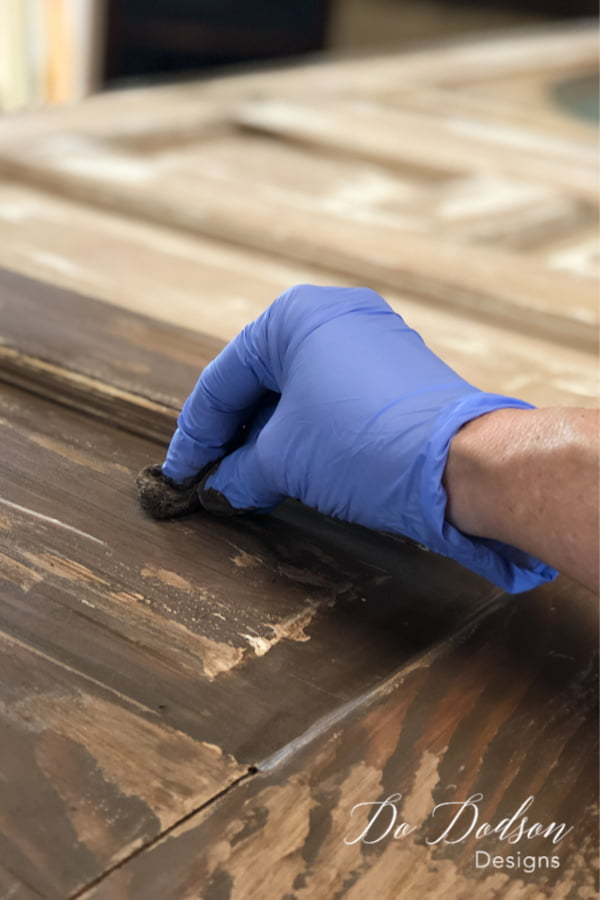 Adding a dark water-based stain created a rich color that worked well with the chippy painted door.