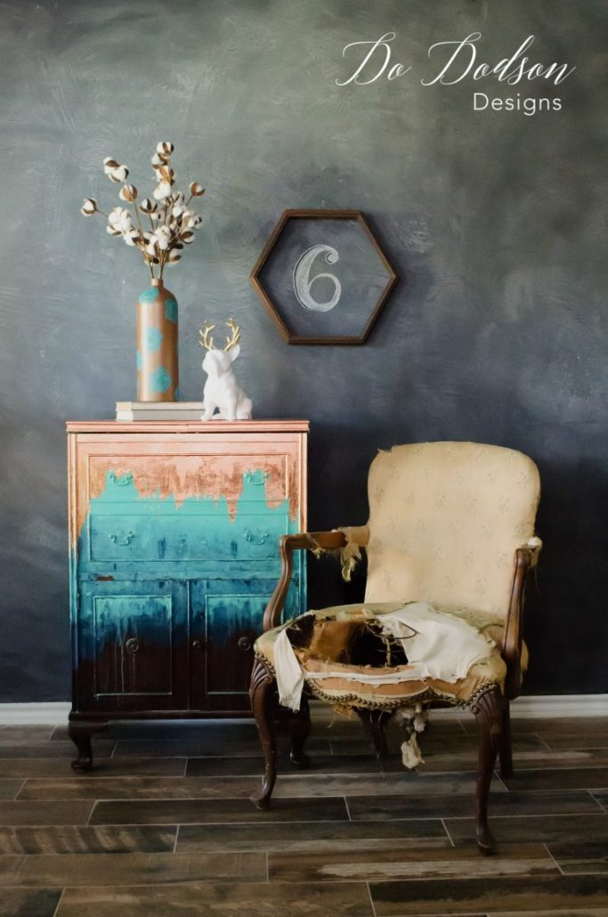 I adore this metal leaf copper inspired furniture makeover.