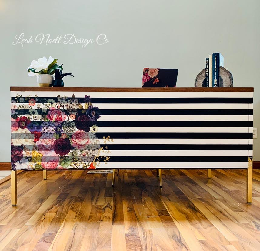 Bold stripes with the gold metal leaf added to the leg of this mid-century dresser makeover makes my heart happy!