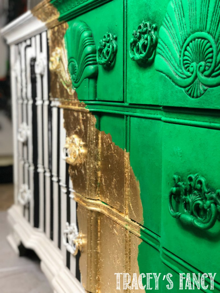 Green, gold and bold stripes with metal leaf dresser