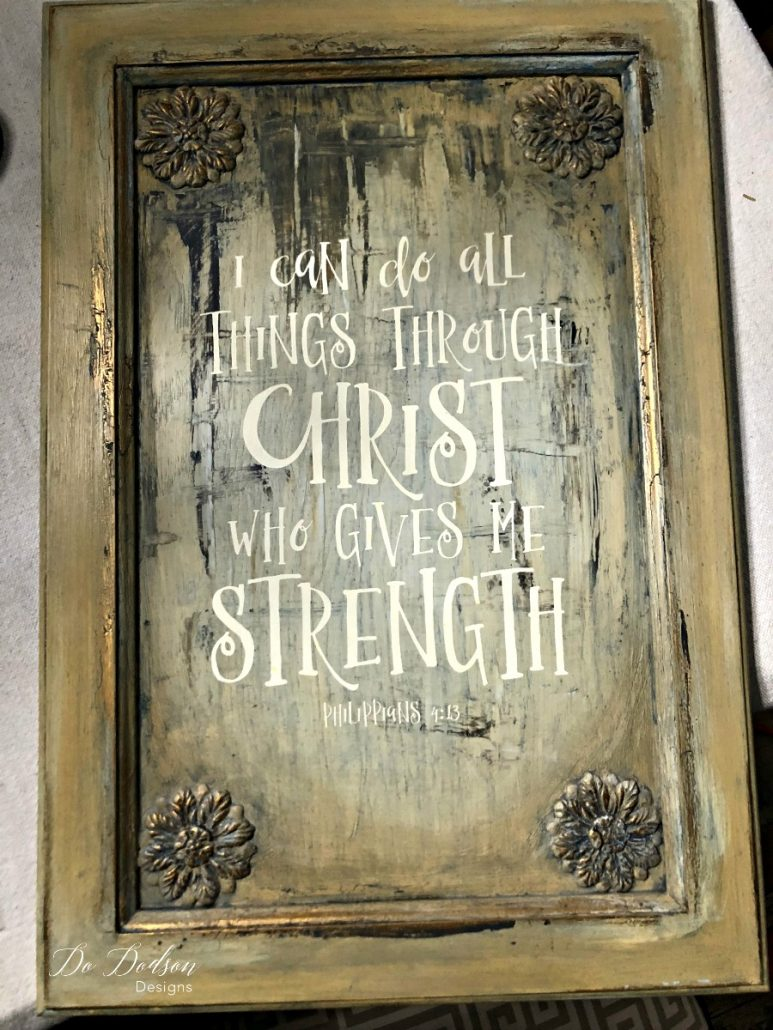 I love how the paint blending technique I used on the cabinet door turned out. Time to add this to furniture! I can do all things through Christ who gives me strength.