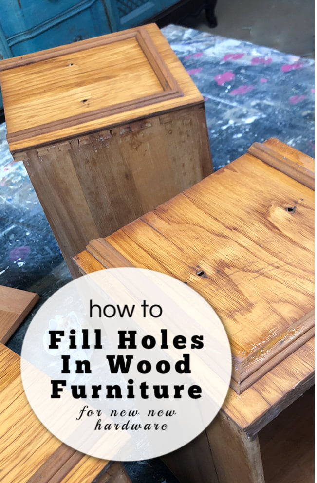 It's a common problem with furniture flippers. Rarely do we get amazing vintage furniture that doesn't need new hardware? So, thank goodness there is a quick fix. Today I'll show you how to fill holes in wood furniture for new hardware placement.