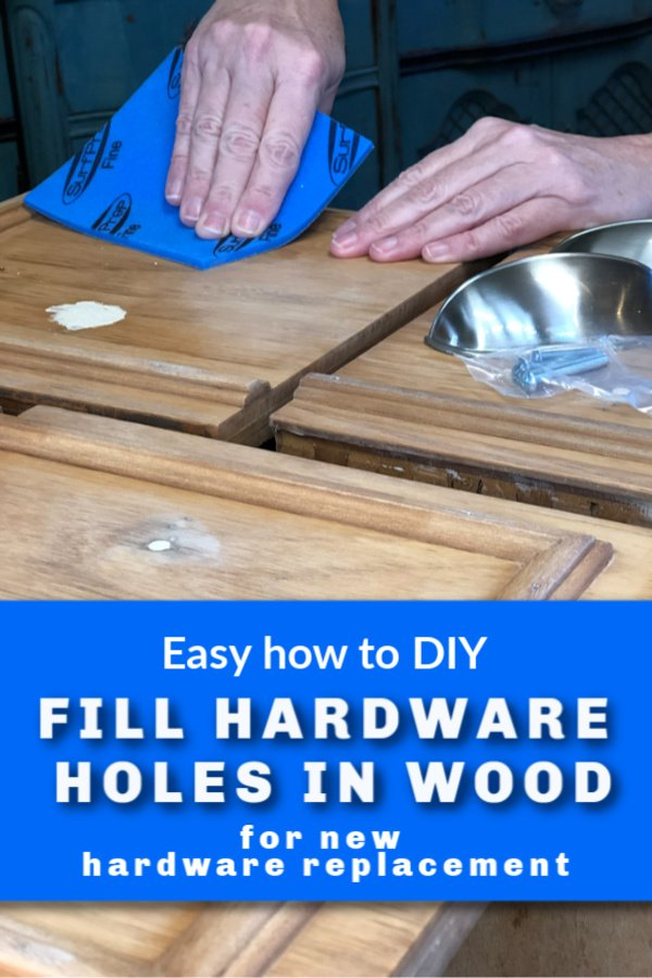 It\'s a common problem with furniture flippers. Here\'s how I fill holes in wood furniture for new hardware placement on my furniture makeovers.