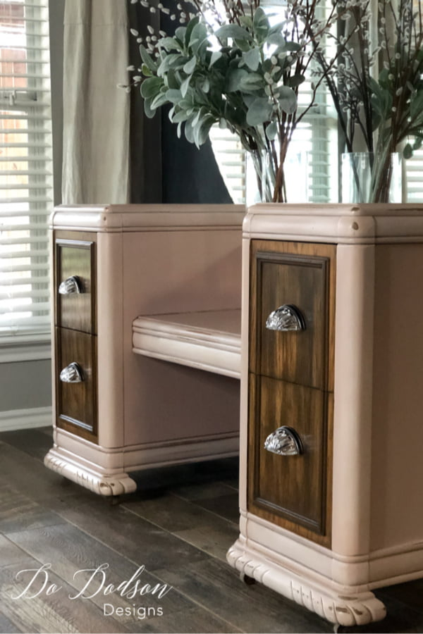 And can I just say that hardware makes all the difference in the world on these furniture makeovers? I do re-use the original hardware from time to time when they're in good shape. But these are to die for!