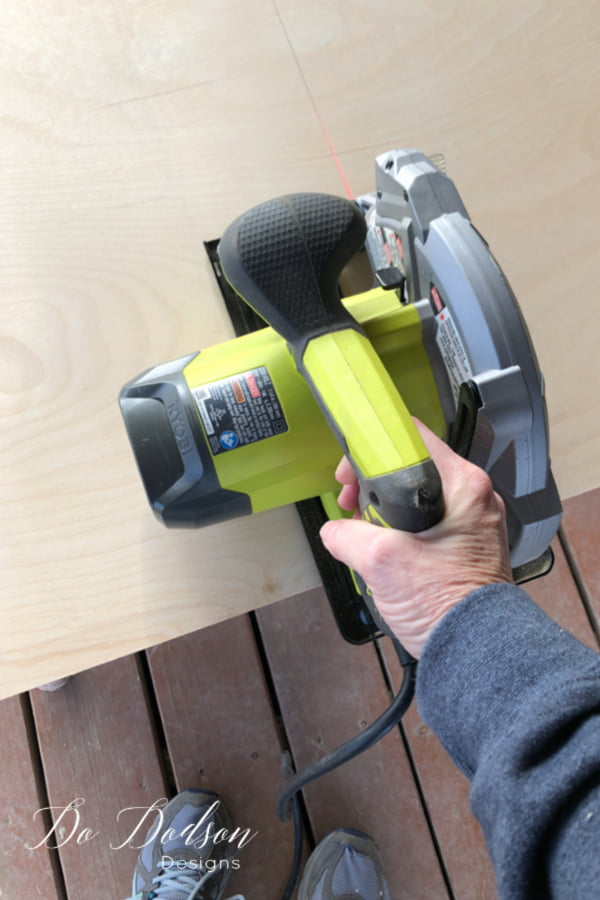 Now for the cut! I like to use a circular saw with a laser guide. I don't have a large table saw so this works for me. A steady hand is also a great tool when you're adding shelves to a dresser.