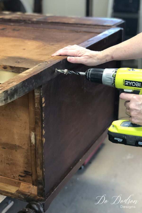 Wood glue is not enough! You need to add extra strength to where the break is. For this broken leg fix, I used 3 dowels. Using my dowel kit and drill, I drilled 3 holes.