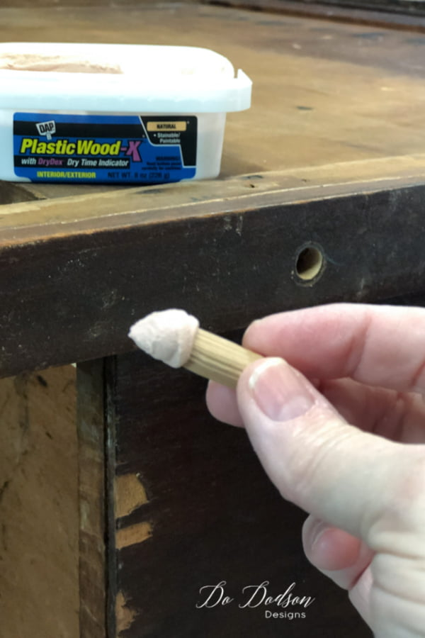 Insert the wooden dowels into the holes and countersink them just enough so that you can add wood filler to cover the holes.