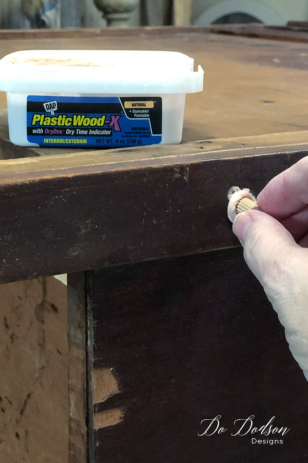 I add a bit of the wood filler to the end of the wood dowel before it is inserted to make sure it has a solid connection at the end of the hole.