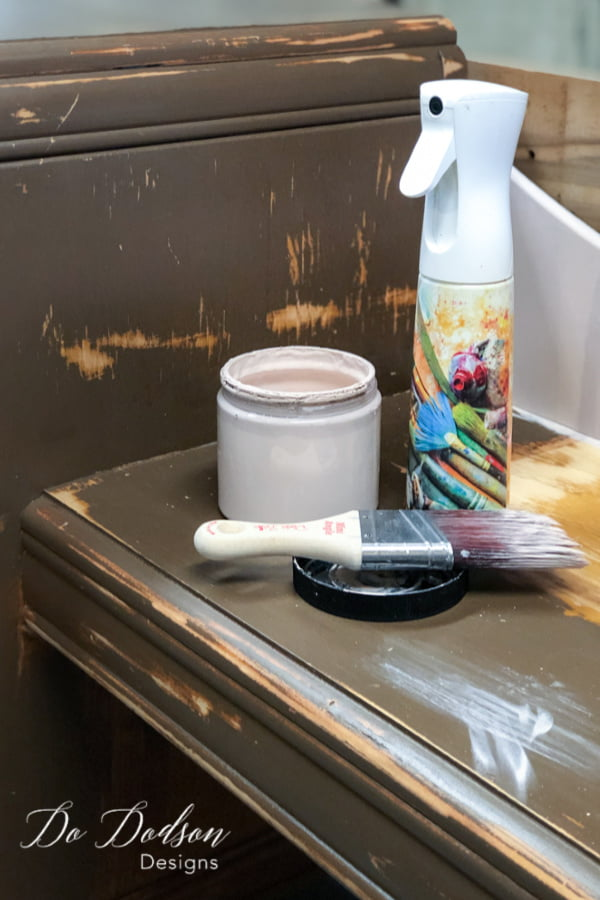 Paint + Paintbrush + Water = how to paint furniture without brush strokes.