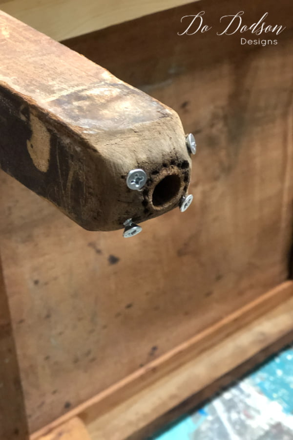 If the chipped wood on your furniture is a deep gouge or weight-bearing, add a few screws or nails to give the Bondo something to attach to. This will create a greater bond.
