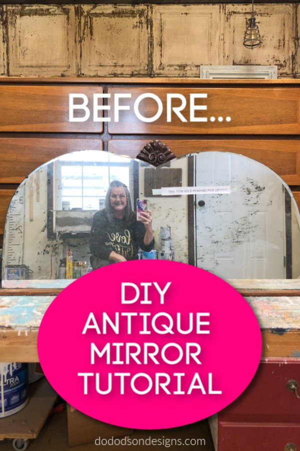 I've thrown away a lot of these old mirrors and I bet I'm not the only one. Today I'm sharing how to update these old beauties with a DIY antique mirror finish.