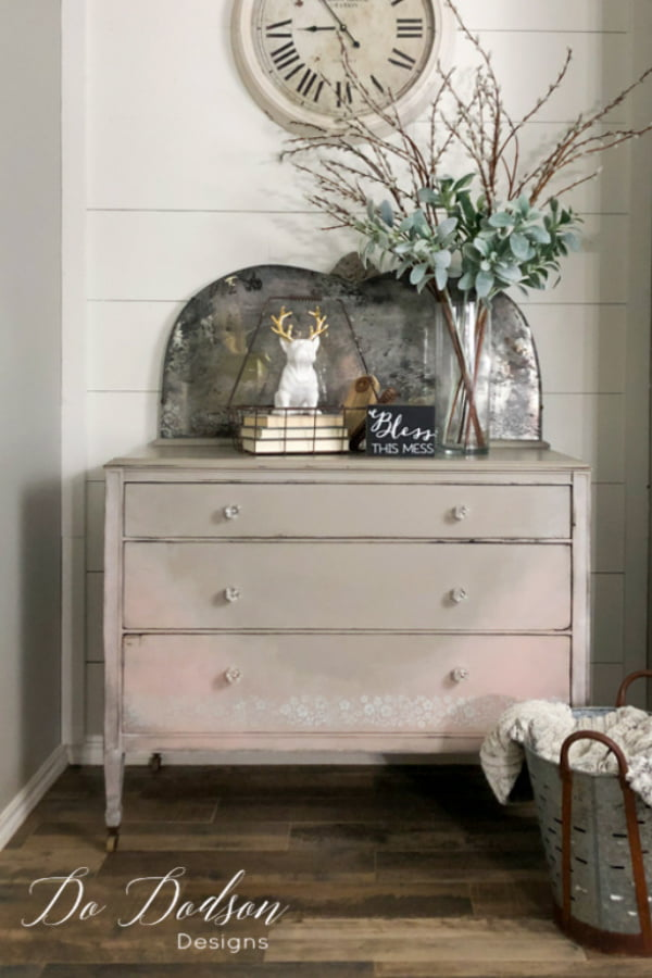This vintage dresser is complete now after my DIY antique mirror makeover. It's the perfect marriage of a mirror and a dresser.