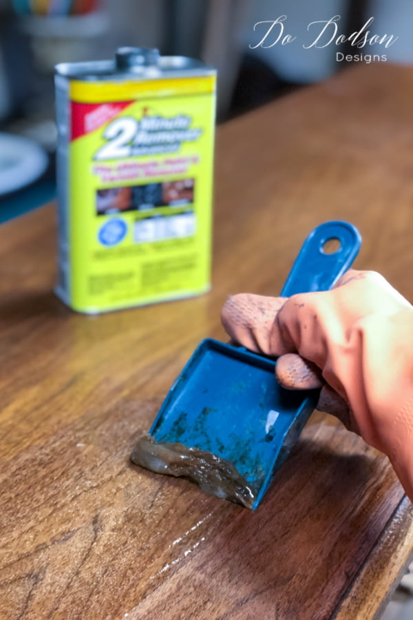 I use a plastic scrapper to prevent damage to the wood when I am refinishing wood furniture.