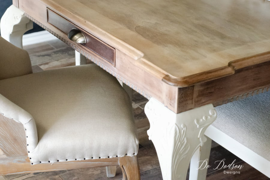 Using a whitewash pickling stain was just the look I wanted for my whitewash wood table. My farmhouse dining room is complete and I couldn't be happier.
