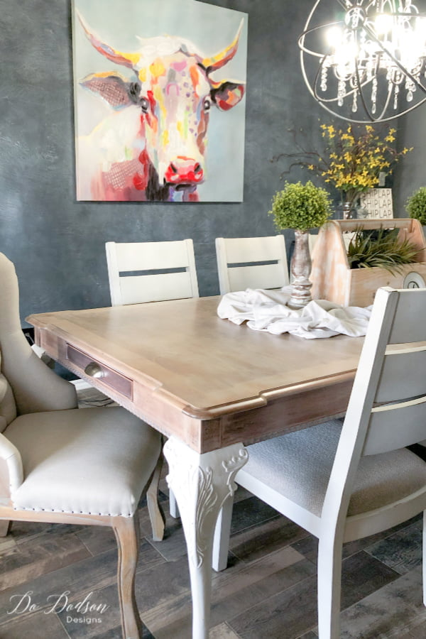 This DIY farmhouse whitewash wood table makeover was just what my dining room need to complete the look I was wanting. It couldn't have turned out any better.
