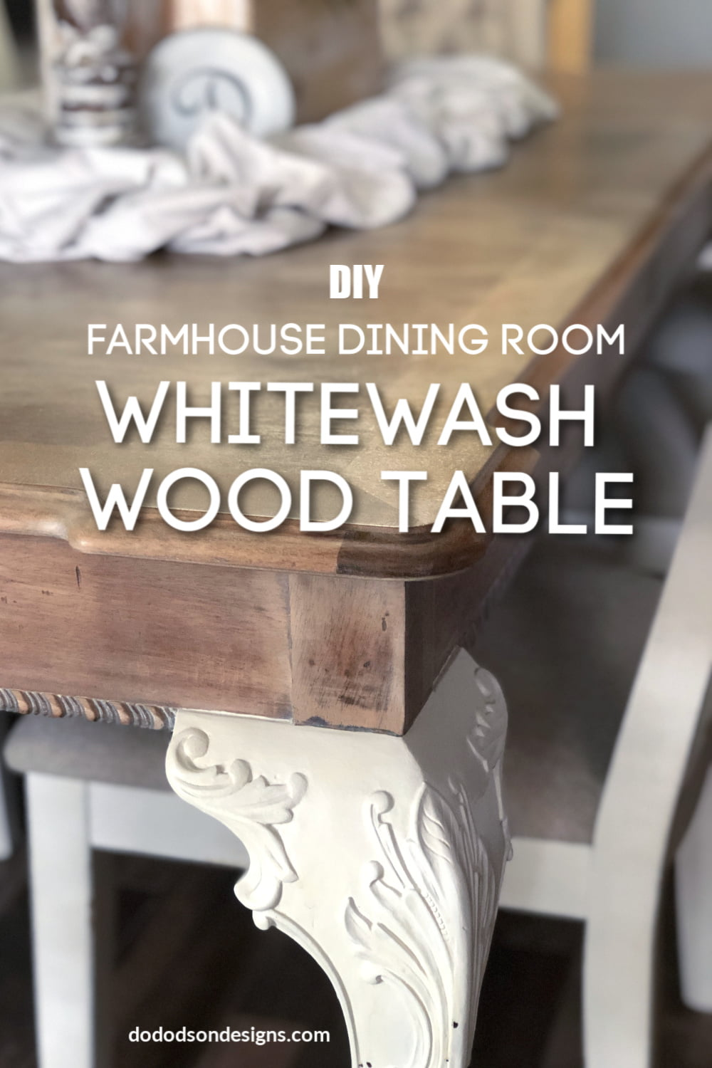 Try this DIY whitewash wood tabletop makeover idea for a fresh new look that will transform any table into a DIY Farmhouse table.