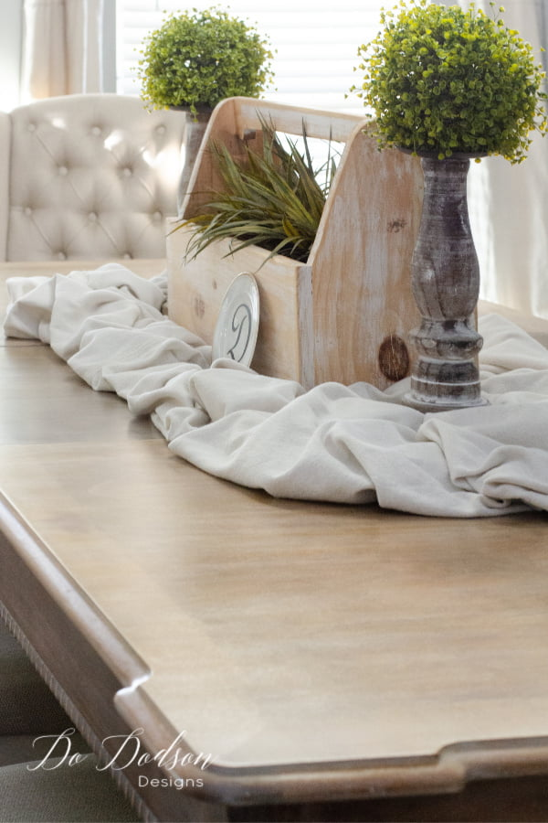 I decorated my whitewash wood table with some of my favorite farmhouse decor. It's exactly how I wanted my farmhouse dining room table to look.