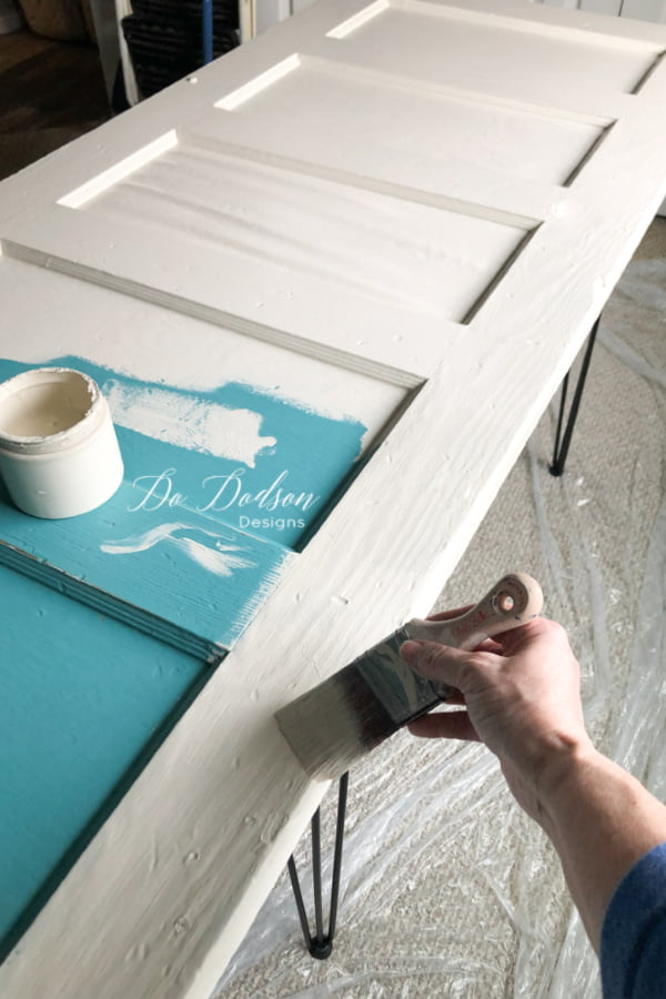 Add your favorite color of paint and you have a beautiful DIY desk. I used a beautiful neutral color chalk mineral paint to compliment my home decor.