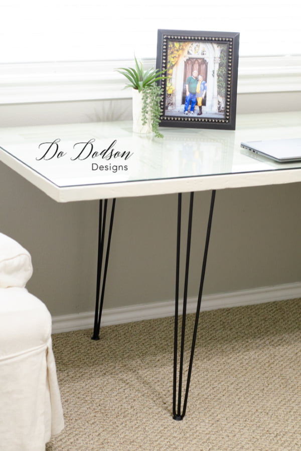 In just 2 simple steps, you can create this beautiful DIY hairpin leg desk. Easy peasy!