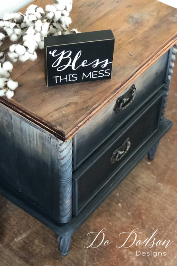 BLESS THIS MESS with a DIY Ombre Raw Wood Look on your wood furniture.