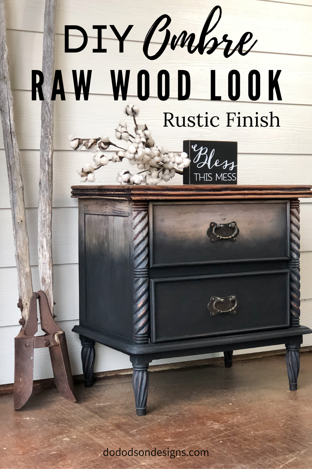 DIY Ombre Raw Wood Look On Furniture