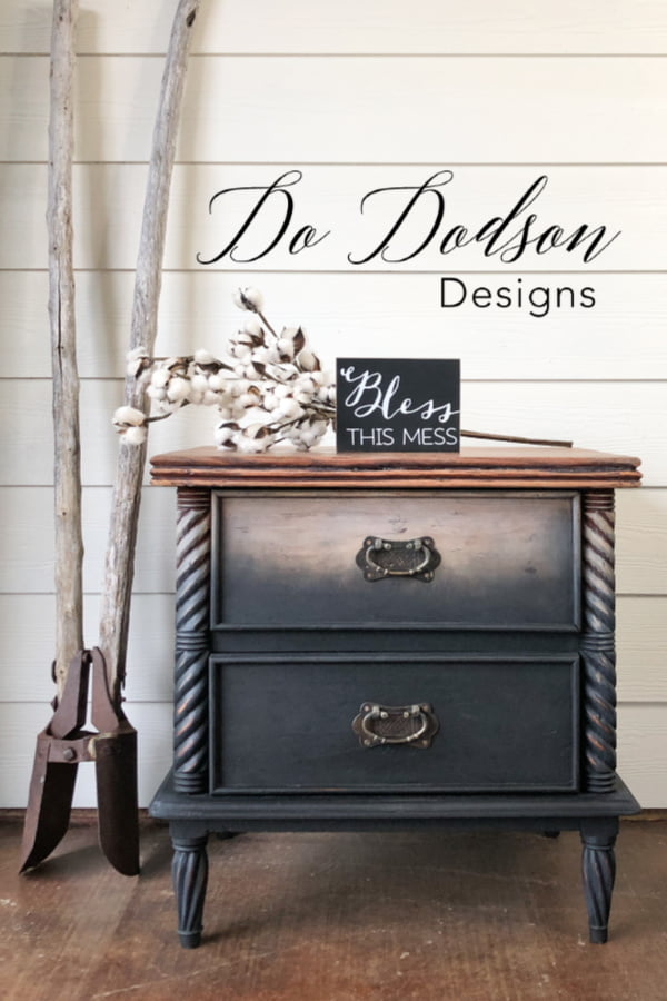Easy to do DIY raw wood look on furniture with an ombre painted twist. Tutorial available.