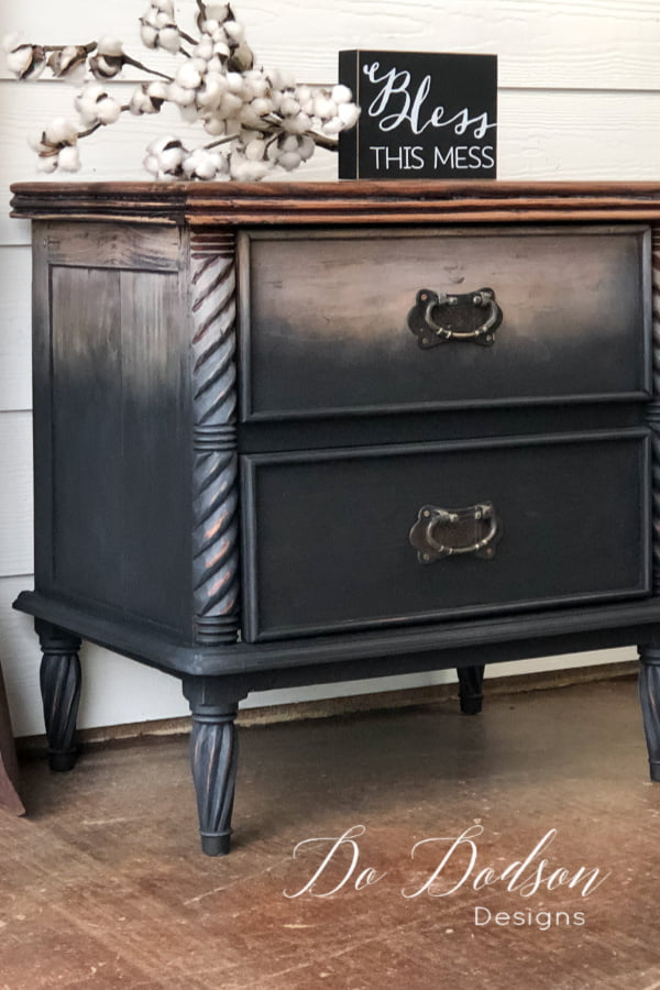 Get an AMAZING DIY raw wood look with an ombre twist of paint on your furniture with this technique.