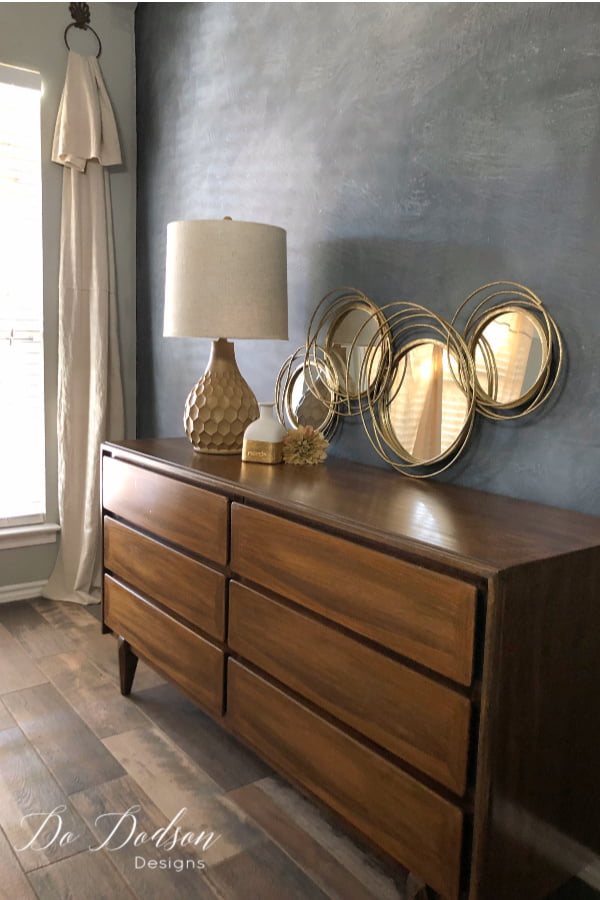 The dark walnut gel stain I used on this mid century modern dresser is stunning and I'm so glad I chose this finish.