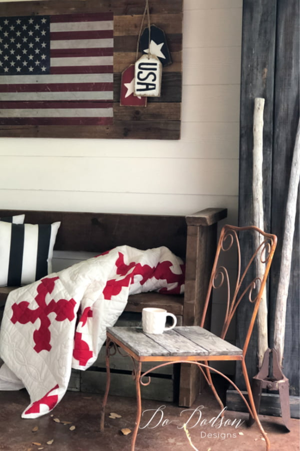 Isn't this cute? I created this American Flag pallet sign in just a few short hours.