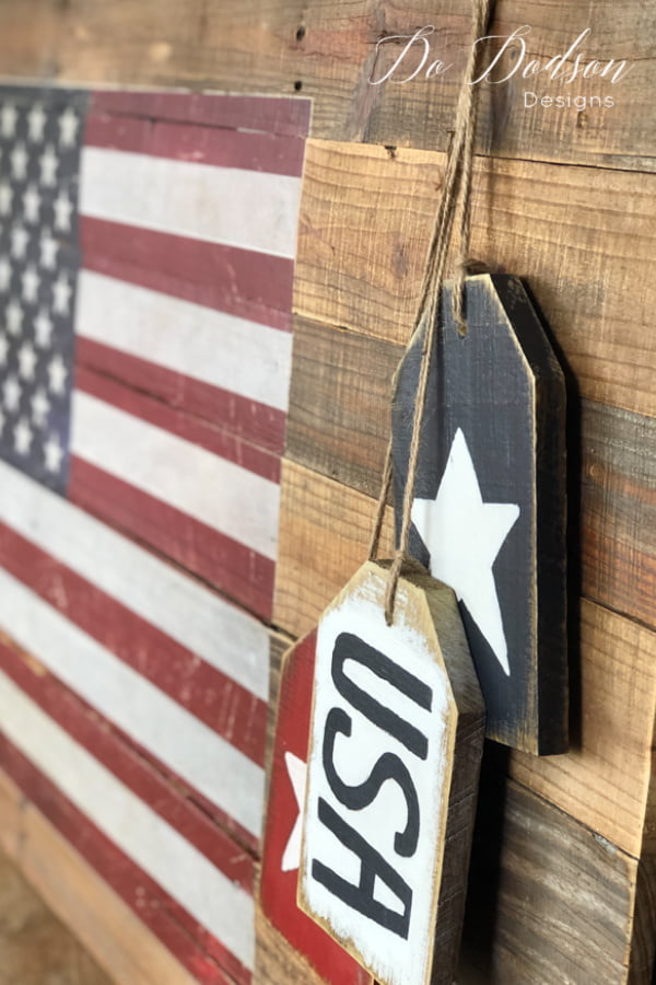 Rustic pallet wood sign with an American Flag transfer.
