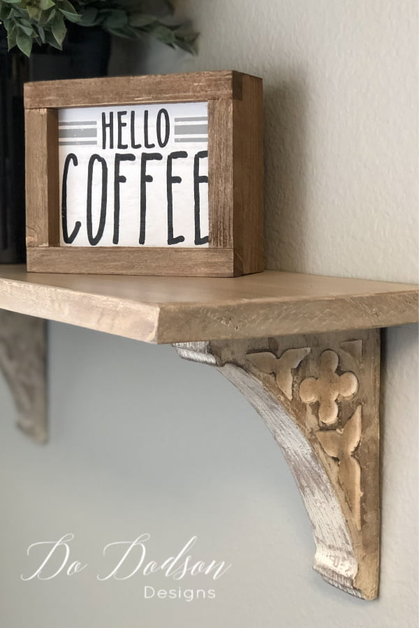 I LOVE how my mini corbel shelf turned out. It's perfect over my coffee bar to display my pretty me decor.