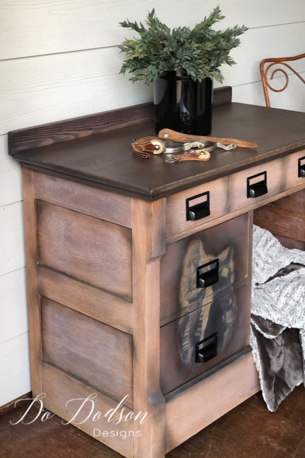 I love the way this photo adds so much to this vintage washstand. I replaced the pulls with these modern card catalog handles. Perfect for my office.