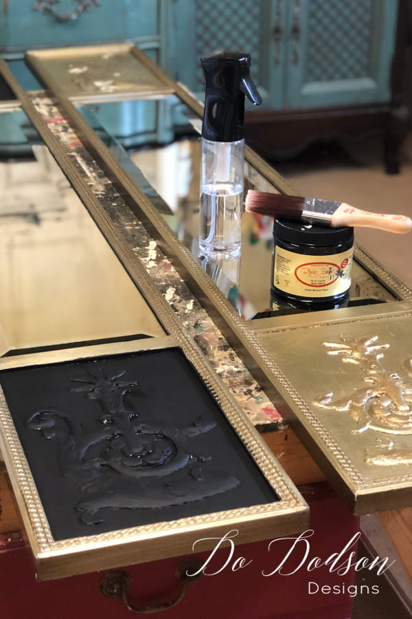 Before applying the gold leaf, I painted the background of my design. It's a little tricky but the results will be amazing!